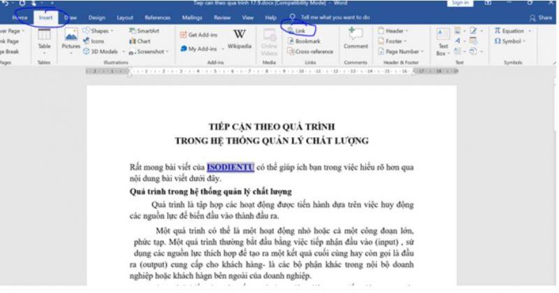 Hướng dẫn cách chèn link trong word