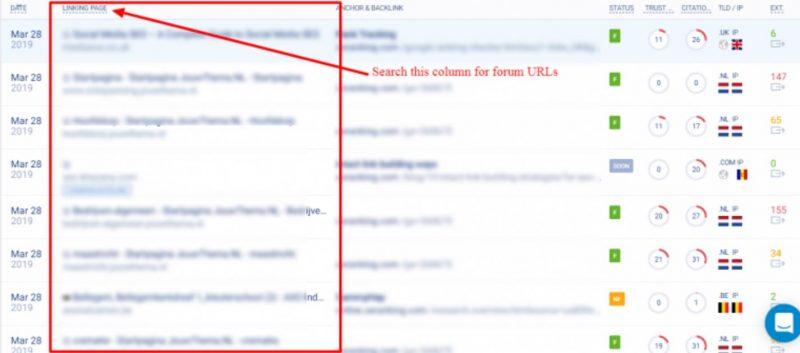Tìm kiếm các liên kết đó cho bất kỳ liên kết nào bắt nguồn từ các diễn đàn