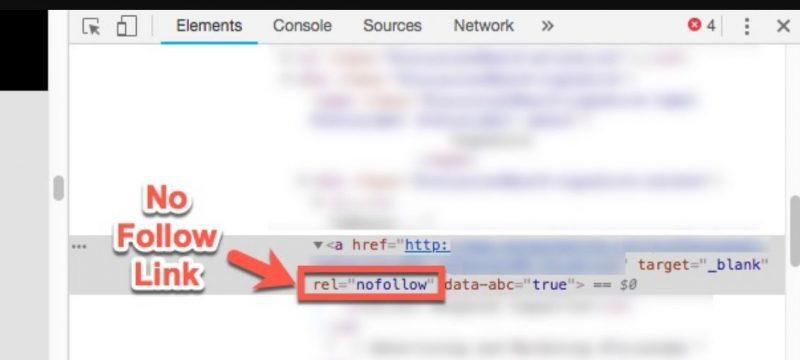"""Liên kết đó sẽ chứa rel = """"nofollow"""" trong đánh dấu HTML"""