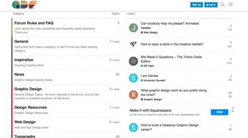 Diễn đàn về thiết kế đồ họa có chứa một diễn đàn phụ về thiết kế web